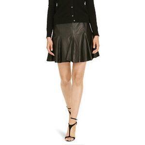 Polo Ralph Lauren A-Line Leather Mini Skater Skirt